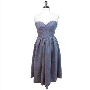 Wool Blend Strapless Midi Dress